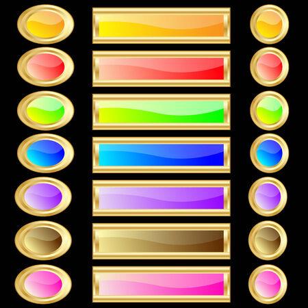 felgen: Web buttons, verschiedene Farben und Formen mit gold Felgen