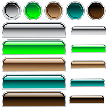 Buttons, scaleable shiny rounded rectangles and circles in assorted colors Vector