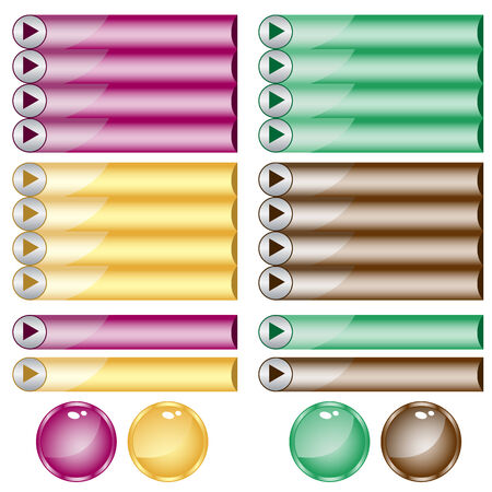 Web buttons assorted colors and shapes Vector