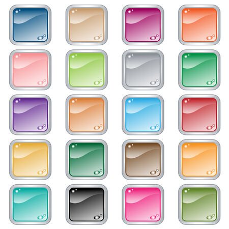Web buttons. Square set of 20 push buttons in assorted colors. Isolated on white. Vector