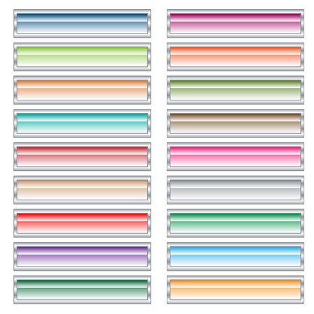 oblongs: Web buttons set in pastel colors. Isolated on white.