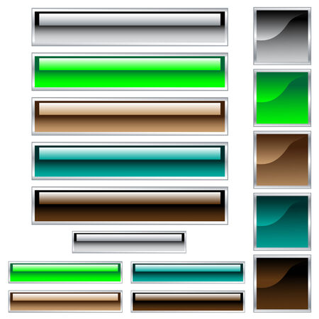 Web buttons, scaleable shiny rectangles and squares in assorted colors Vector