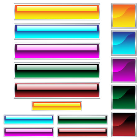 website buttons: Web buttons, scaleable shiny rectangles and squares in assorted colors