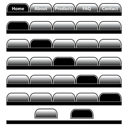 Web buttons, black and gray navigation bars set with individual blank tabs. Isolated on white.