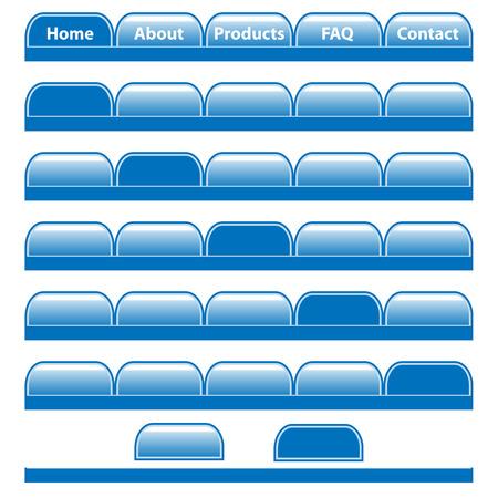 pesta�as: Botones de Web, barras de navegaci�n azul establecen con fichas en blanco individuales. Aislados en blanco.