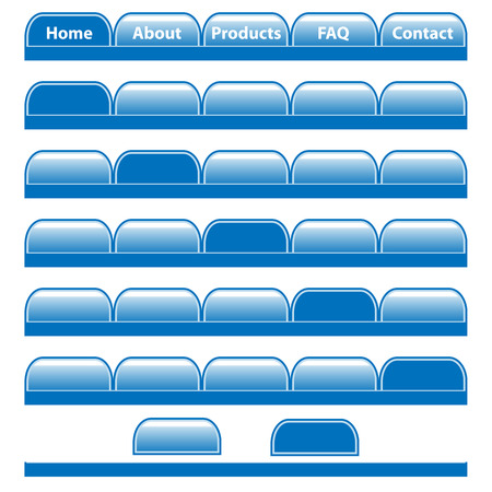 Web buttons, blue navigation bars set with individual blank tabs. Isolated on white.