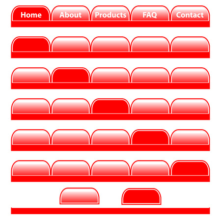 Web buttons, red navigation bars set with individual blank tabs. Isolated on white.