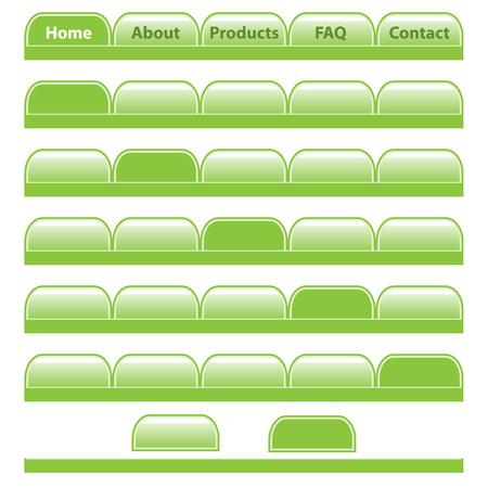 pesta�as: Botones de Web, barras de navegaci�n verde establecen con fichas en blanco individuales. Aislados en blanco.  Vectores
