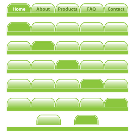 rounded rectangle: Web buttons, green navigation bars set with individual blank tabs. Isolated on white.