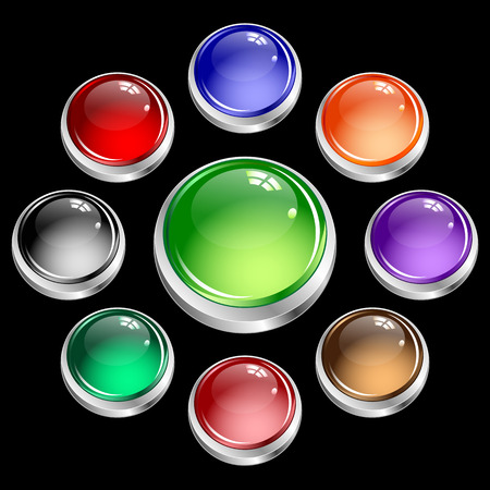 Web buttons round assorted colors set in silver casing. Glossy buttons isolated on black