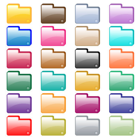 Web folder icons in 24 assorted glossy colors. Isolated on white.  Vector