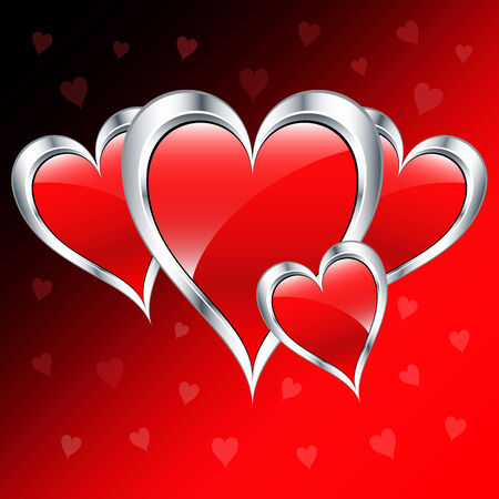 Valentine day love hearts in silver and red, set on a romantic background. Vector