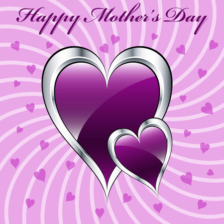 mothering: Mothers day purple hearts symbolizing love, set on a lilac swirly background.