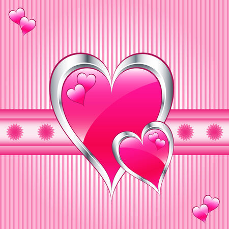 mothering: Valentines or mothers day pink hearts symbolizing love. Striped pink background with flowers. Illustration