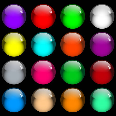 Web buttons. Sixteen shiny gel buttons in assorted colors. Isolated on black.