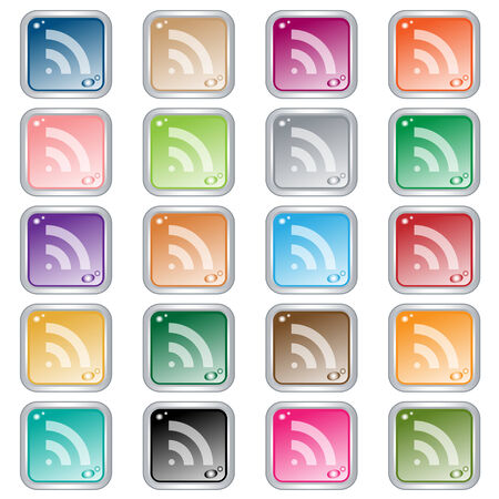 RSS square web buttons set in 20 assorted colors. Isolated on white. Vector