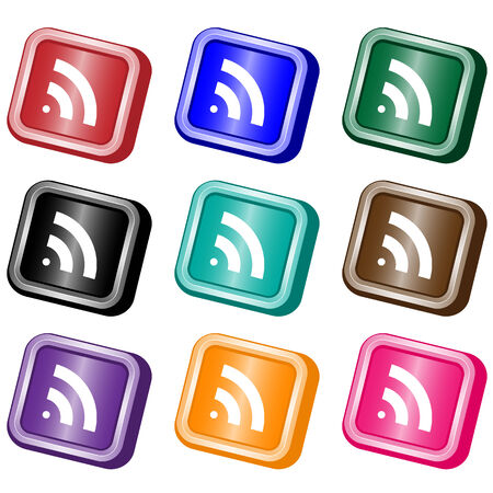 RSS square web buttons set in nine assorted colors. Isolated on white. Vector