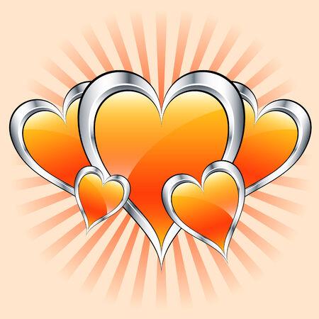 misty: Valentines or mothers day orange hearts symbolizing love. Misty sunburst rays in the background. Illustration
