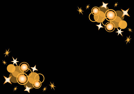 Orange circles and stars abstract on a black background with copy space for text. Stock Vector - 6653519