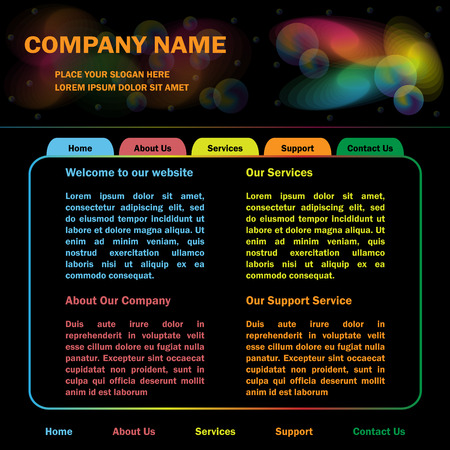 Website design template, black background, colorful header and navigation tabs.