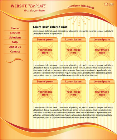 Website design template, orange header, footer and sidebar. Layout includes six boxes for images and ample space for text.