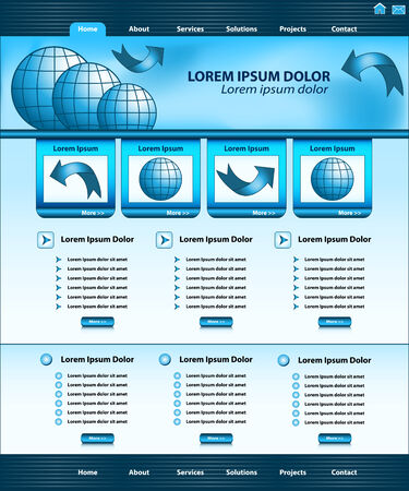Website template design, blue corporate style, layout and header elements.