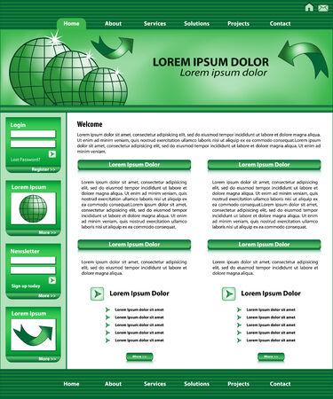 Website template design, green corporate style, layout and header elements.