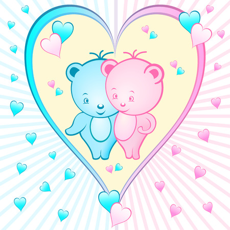 Cute bear cartoon characters set inside a large pink and blue love heart shape, sunburst background with small hearts Illustration