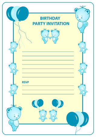 Boys birthday party invitation card with blue cartoon bears and balloons.