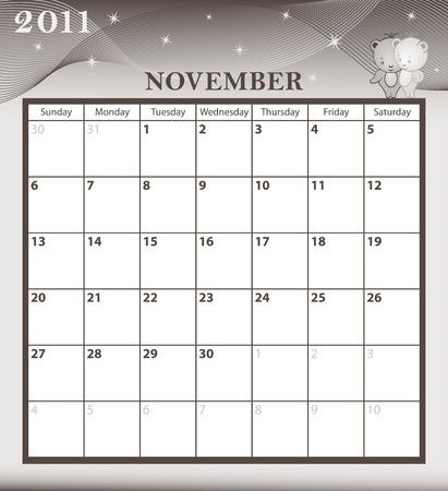 Calendar 2011 November month with large date boxes. Cartoon characters and patterned background. Stock Vector - 6929443
