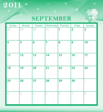 Calendar 2011 September month with large date boxes. Cartoon characters and patterned background. Vector