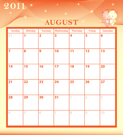 Calendar 2011 August month with large date boxes. Cartoon characters and patterned background. Vector