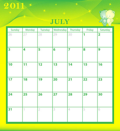 Calendar 2011 July month with large date boxes. Cartoon characters and patterned background. Vector