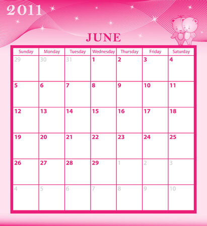 Calendar 2011 June month with large date boxes. Cartoon characters and patterned background. Illustration