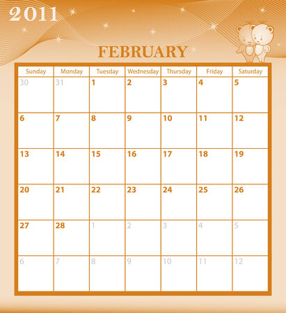 Calendar 2011 February month with large date boxes. Cartoon characters and patterned background. Vector
