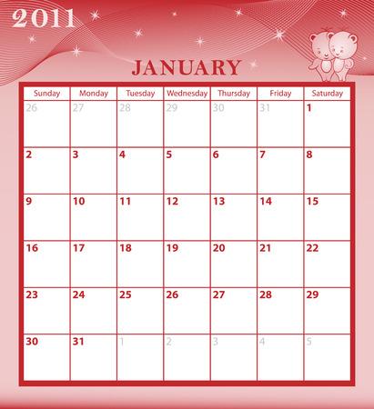 Mes de enero de 2011 del calendario con cuadros de gran fecha. Personajes de dibujos animados y patrón de fondo. Foto de archivo - 6929448
