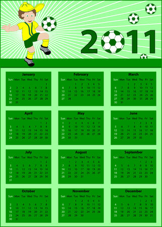 Calendar 2011 with a soccer theme. Child football player bouncing his ball. Stock Vector - 7008048