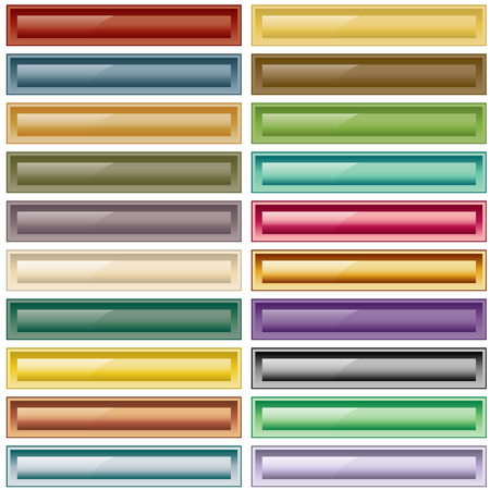 Web buttons collection of 20 scalable assorted colors. Isolated on white.