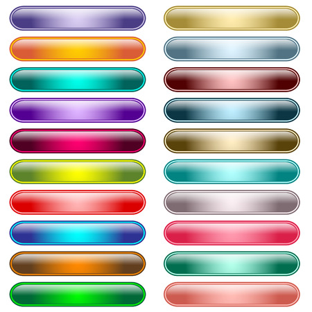 Web buttons in 20 shiny assorted colors, scalable. Stock Vector - 7053512