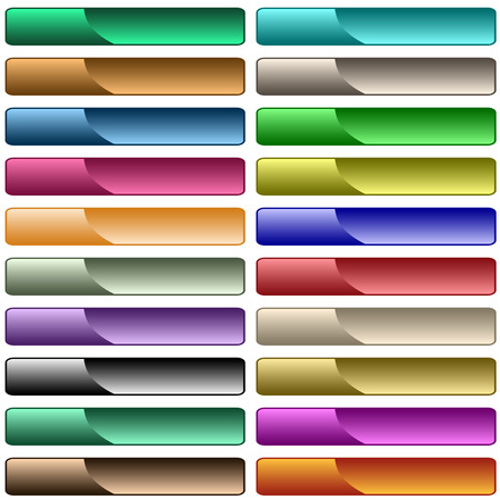 Web buttons in 20 shiny assorted colors, scalable. Isolated on white.