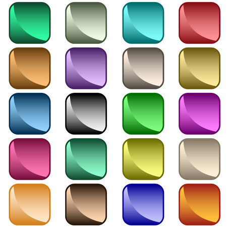 rounded rectangle: Web buttons in 20 shiny rounded square assorted colors. Isolated on white.