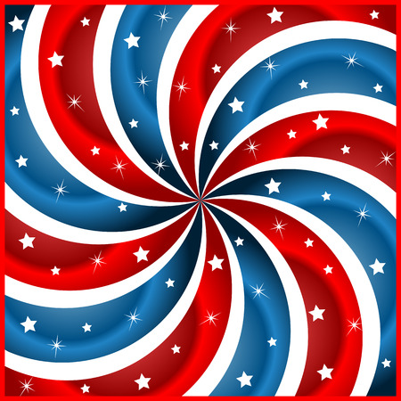 American flag background with stars and swirly stripes symbolizing 4th july independence day Vector