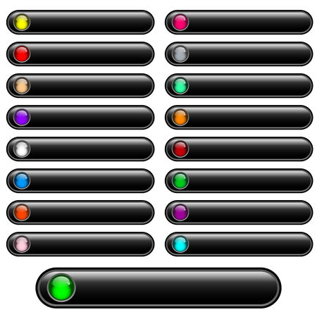 oblongs: Web buttons black and shiny with bright assorted colored round glossy inserts. Scalable. Isolated on white.