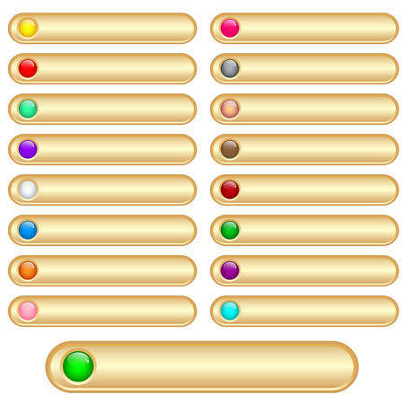inserts: Web buttons gold and shiny with bright assorted colored round glossy inserts. Scalable. Isolated on white.