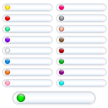 oblongs: Web buttons white and shiny with bright assorted colored round glossy inserts. Scalable. Isolated on white. Illustration