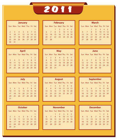 months of the year: Calendar 2011 full year. January through to December months. Illustration
