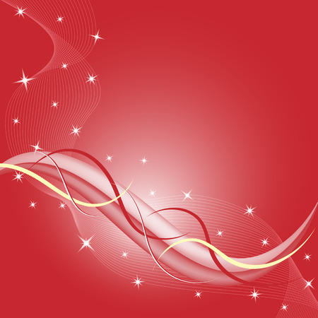 white star line: Abstract red background composition with stars and flowing wispy lines. Copy space for text.