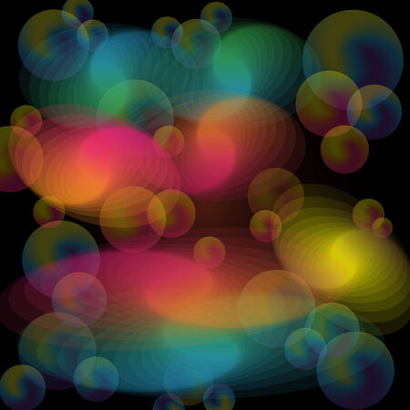 Abstract background with colorful transparent swirls and spheres set on a dark background color Stock Vector - 7342137