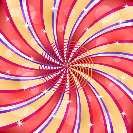 white line: Sunburst with a center spiral decorated with stars and transparent circles. Illustration