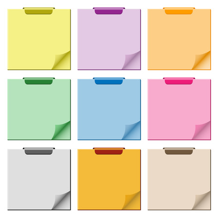 Notepad set in assorted colors with page curled up, clip at top of pad and ample copy space for text. Vector